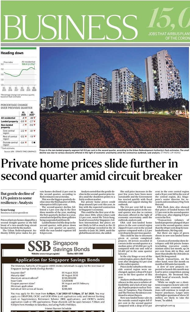 , News Update: Private Homes prices drop 1.1% amid Circuit Breaker, Trusted Advisor