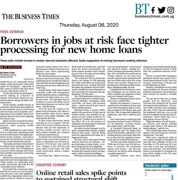 Engage your trusted advisors for planning, News Update, BT 06 August 2020: Borrowers in jobs at risk face tighter processing for new home loans, Trusted Advisor