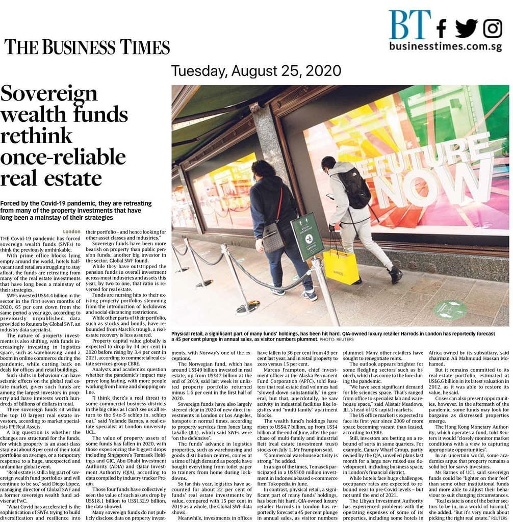 Sovereign Wealth Funds re-balancing their Real Estate Portfolio, News Update: BT 25 Aug 2020 Sovereign Wealth Funds rethink once-reliable real estate, Trusted Advisor