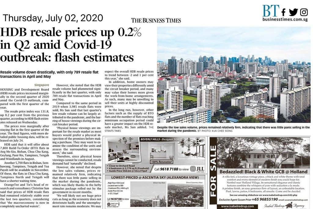 , News Update: HDB resale prices up 0.2% amid Covid-19 outbreak, Trusted Advisor