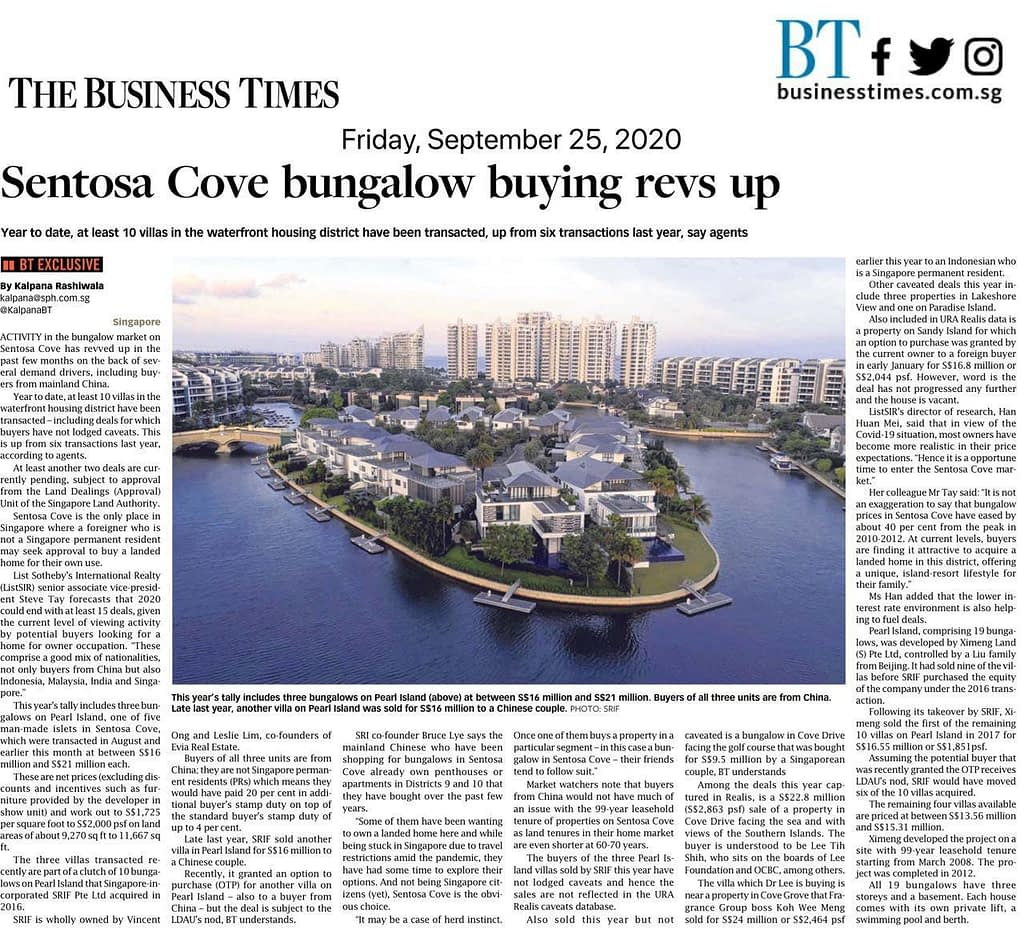 Increasing Buying activities in Sentosa Cove, News Update: BT 25 Sept 2020:  Sentosa Cove bungalow buying revs up, Trusted Advisor